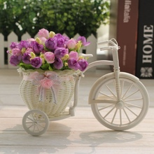 DIY Plastic White Tricycle Bike Design Flower Basket Container For Flower Plant Home Wedding Decoration Wreaths Hot Sale