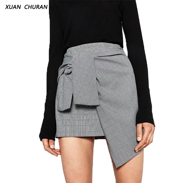 XUANCHURANWEN Summer High Asymmetrical Skirts Women Plaid Skirt Bow Tie High Waist Mini Skirt 2017 Saias Femme DD8318