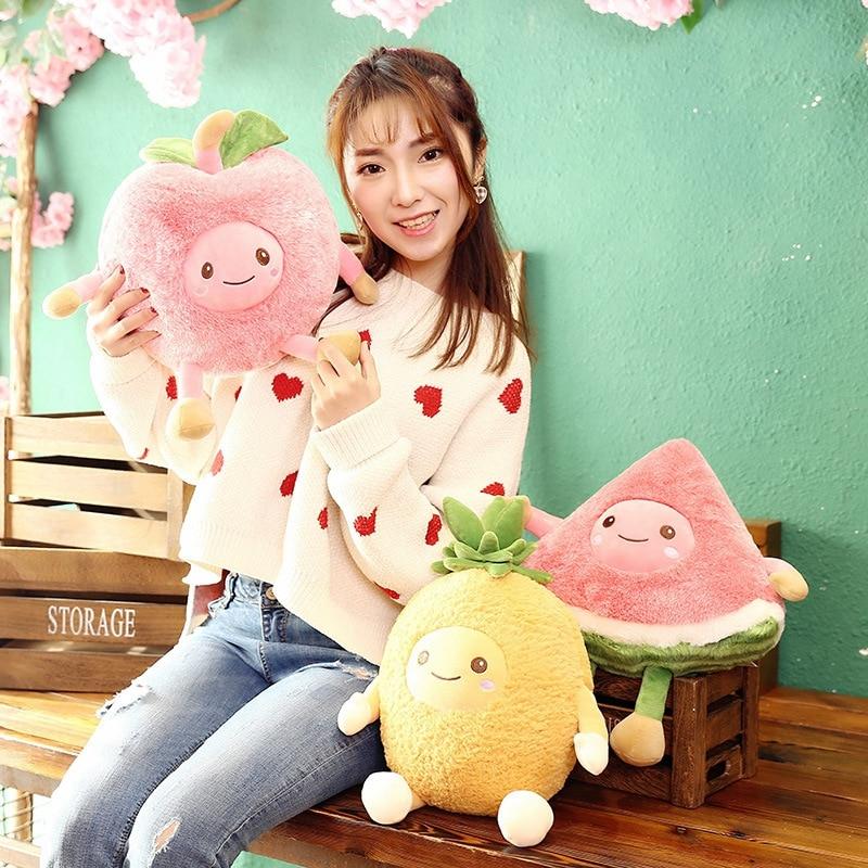 Plush Pillow  Pink Toys For Children Cute Pineapple Peluche Fruit Kawaii Kids Toys Funny Plush Toy Baby Stuffed Fruit Plush Doll