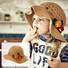 Children's Baby Girl Kids Sun Hat Summer Lovely Fashion flower Straw Hat Beach Cap for 1-9 Year Toddlers Infants caps