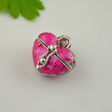 20pcs  Pink Color Enamel Heart Prayer Wish Craft Photo Frame Locket Box Fit Charms Necklace Pendant