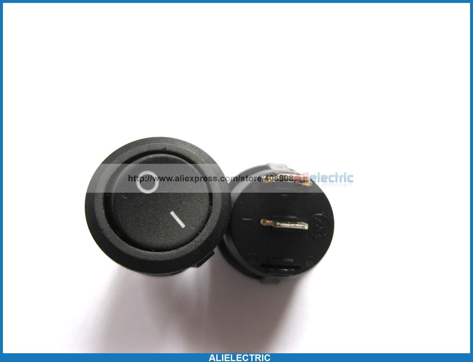 200 Pcs Rocker Switch KSD1 Circular Black 2pin 6A 10A<br><br>Aliexpress