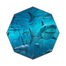 Cool Sharks In the Sea Custom Portable Folding Travel Design Rain and Sun Beach Umbrellas Hat Unique Parasol Umbrella