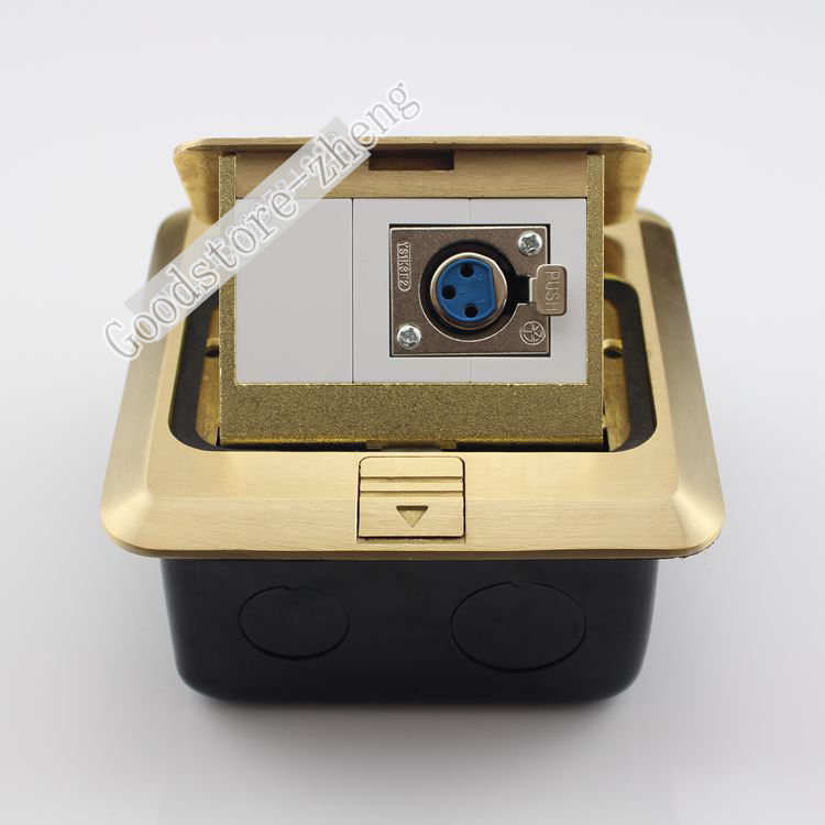 Bronze Pop-up Floor Box Kit Microphone XLR Female Jack Panel Ground Outlet Socket Receptacle Home Plug Adapter 120mm Brass<br>