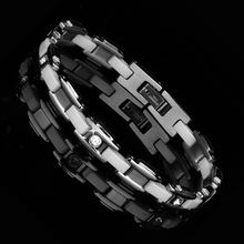 Men Jewelry White Inlay Crystal Ceramic Bracelet Magnetic Energy Germanium Health Chain Charm Bracelet Party Anniversary Gift