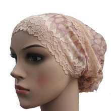 30 Pieces Fashion Beautiful Flower Style Lace Muslim Hijab Caps Islamic Hats Full Head Coverage Multi-Color Whole Price