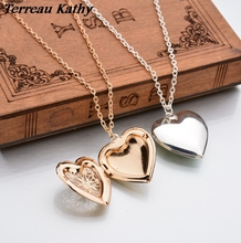 Terreau Kathy Real Shooting Plated Gold Hollow Heart-Shaped Pendant Necklace Women Jewelry Accessories Cute Photo Box(China)