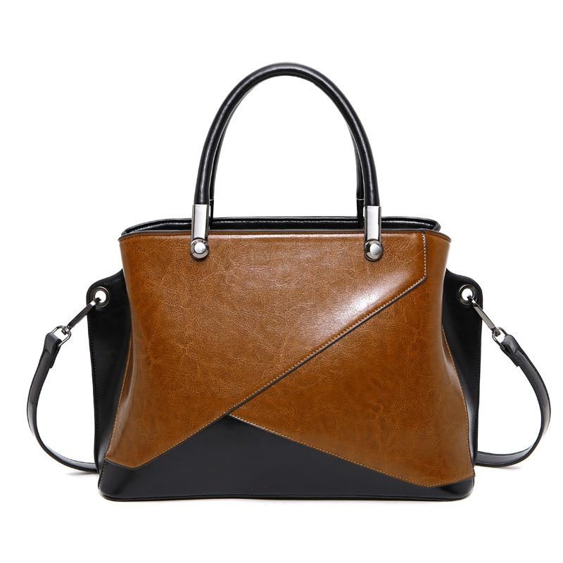 2017 Trending Split Leather Woman Satchel Wax Oil Fashion Panelled Female Handbag Woman Tote Bag PR08566<br>