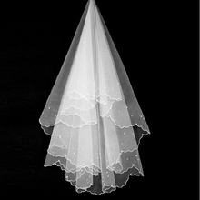 ZYLLGF Bridal Simple Cheap Stock Ivory Wedding Bridal Veil Veu De Noiva Com Perolas Bridal Accessories For Women BV2