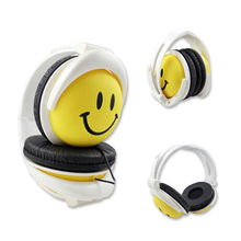 ABS High Quality 3.5mm Foldable Wired Headband Stereo Headphones Cartoon  Smile Face Girls Boys Children Kids Earphone Headset