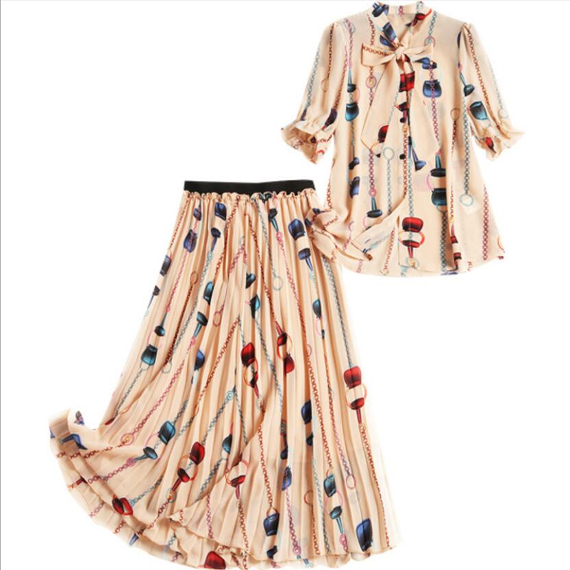 Two Piece Sets Vintage Womens Two Piece Sets 2019 Elegant with Skirt and Retro Printed Blouse
