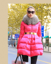 Fast delivery Winter Jacket Women 2016 Brand Parka Real Big Raccoon Fur Collar Goose down Jacket Slim Thicken Warm Parkas