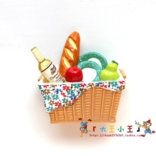 Fridge Magnet Hand-painted refrigerator Japanese-style picnic Bread drink fruit 3D stereo Magnetic paste creative decorations