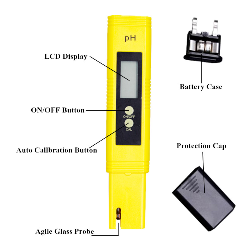 100pcs by dhl fedex Digital PH Meter Tester Water Wine Urine Monitor accuracy 0.01 automatic calibration 12%off 3