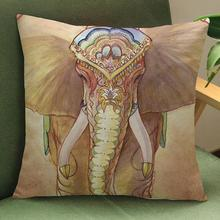 45*45 Cm Square Colorful Elephant Pattern Decorative Soft Short Plush Throw Pillow Sofa Office Chair Backrest Cushion