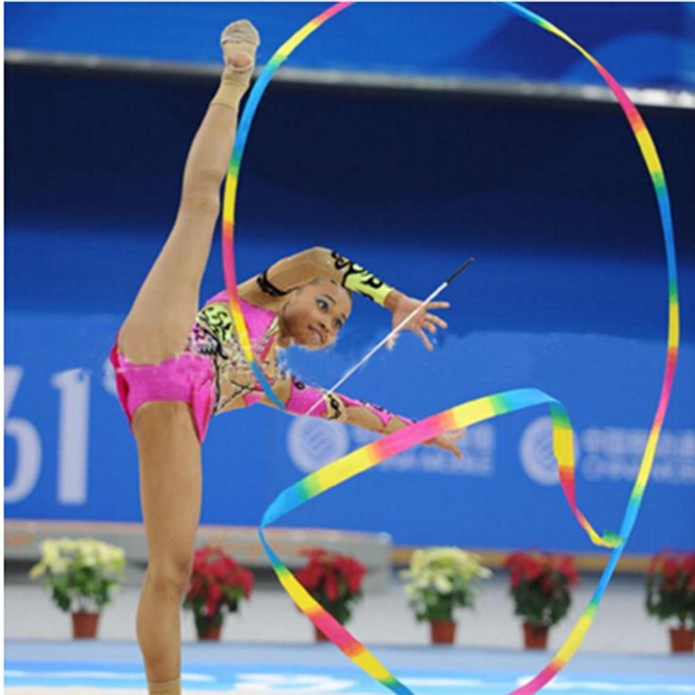 Premier Housewares Pack of 1 2 Meter Art Gymnastics Rhythmic Ribbon Twirling Baton Rod,Gym Dance Ribbon Streamer and Stick for Children,rainbow