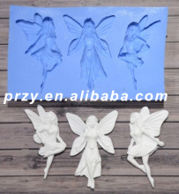 Silicone Mold Three Fairies Crafts Decorating Cake Candy fondant silicone molds for cake decorations