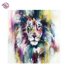 "ANGEL'S HAND DIY 5D Resin Diamond Painting Cross Stitch Full Diamond Embroidery ""lion""Pattern Rhinestone Pasted Paintings(China)"