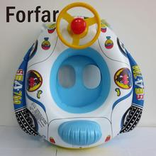Forfar New Cute Baby Inflatable Swimming Pool Ring Seat Floating Car Shape Boat Aid Trainer with Wheel Horn(China)
