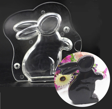 DIY New 3D Bunny Rabbit Shape PC Polycarbonate Easter Rabbit Jelly Chocolate Mold Candy Fondant Sugarcraft Mould Pastry Tool