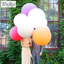 FENGRISE 5pcs 90cm Jumbo Latex Balloons Wedding Decoration Helium Inflatable Super Large Giant Round Birthday Party Supplies