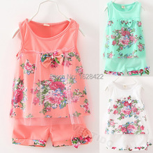 1-3 age 2015 New summer baby clothing sets fashion baby clothes cotton baby girls lace floral bowknot vest + shorts 2 pic suits