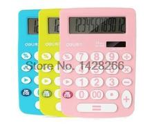 1 Piece Deli 1638 Big Button Calculator solar calculator small desktop computer capable