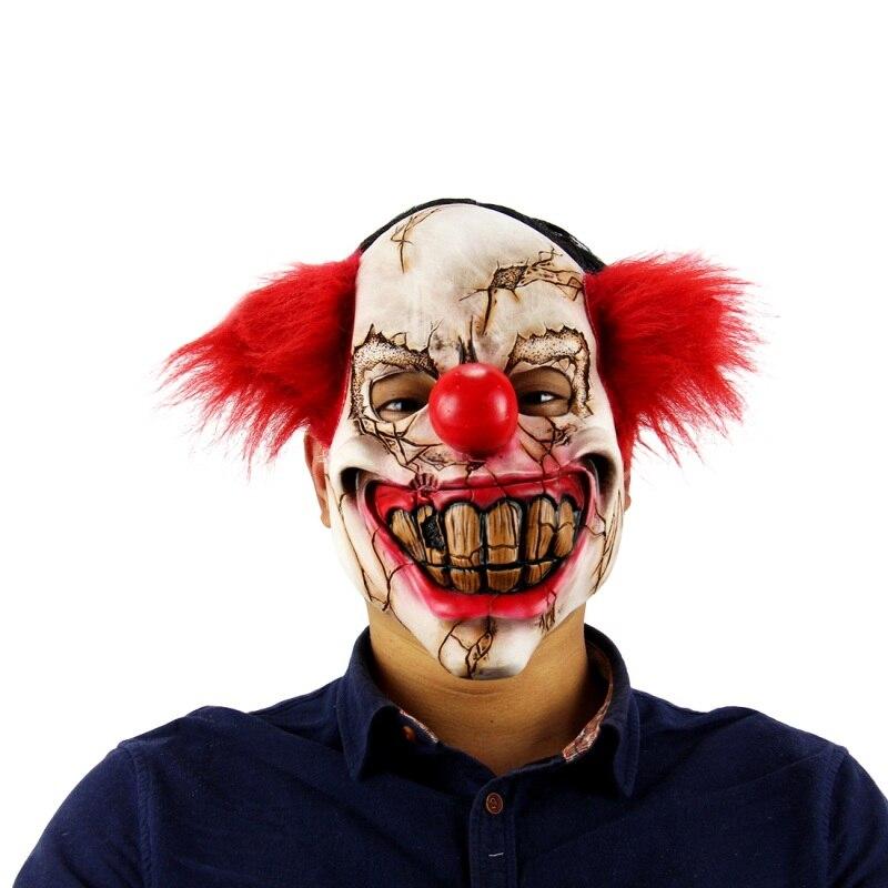 Хэллоуин маска страшный клоун латекс полный маска большой рот красный нос волос Косплей ужас маскарад маска призрак партии 2017(China)
