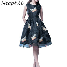Neophil 2017 Vintage Elegant Ladies Organza Butterfly Print Embroidered Midi Dresses High Waist Ball Gown Female Vestido D085030