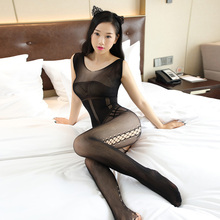 Buy 2018 New Sexy Womens Fishnet Bodystocking Crotchless Lingerie Tights Nightwear Bodysuit Black Sleeve Pantyhose Erotic Stockings