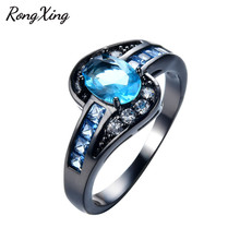 RongXing Fashion Lake Blue Cubic Zirconia Rings Women Wedding Jewelry Vintage Black Gold Filled December Birthstone Ring RB1323