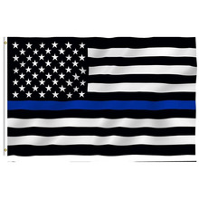Free Shipping Blue Line usa Police Flags 90*150cm Thin Blue Line USA Flag Black White And Blue Flag With Grommets(China)