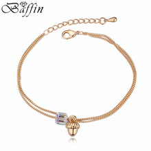 Fashion African Beads Jewelry  Gold Color Charm Bracelet For Women Crystal Pulseira Women Made With SWAROVSKI Elements