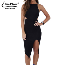 Women Bodycon Cut Out Dress 2017 Summer Dress Eliacher Brand Plus Size Causal Clothing Sexy Black Sleeveless Evening Party Dress