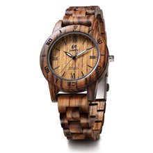 LeeEv EV2076 Womens Luxury Natural Zebra Sandal Wood Watch Quartz Light Weight Vintage Wooden Wrist Watch(China)