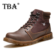 TBA Men's Autumn and Winter British Trend Warm Casual Boots Brown Cow Split with Flock Upper Cow Muscle Outosle Male Boots 8078