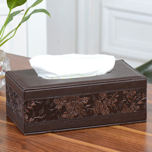 Leather Rectangle Square Tissue Box Pen Remote Storage desk organizer Paper Napkin Towel holder dispenser cover cases(China)