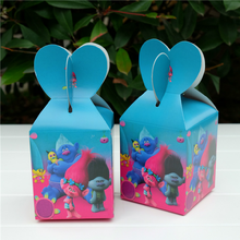 6pcs Cartoon theme Trolls Candy Boxes Birthday Party Supplies Kids Favor Gifts Box Baby Gift Bag