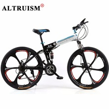 Altruism X6 Mountain bike 21 speed Men folding 26 inch Bicycles Full Suspension Mountain Bikes Frame Black kids Road Bicycle(China)