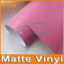 Free shipping high quality 30M/lot pink  Matte Vinyl Wrap with Air release Matt Black Foil Vehicle Wrap Film car Sticker