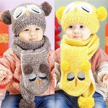 Winter Warm Baby Boys Girls Hat Scarf Set Cute Knitted Cotton Hats for Toddlers Cartoon Owl Hats For 1 to 4 Years(China)