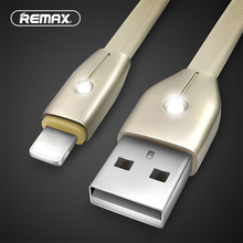 REMAX lighting USB data cable 2.1A 1M TPE flat glitter fast cable with breathe LED USB Charger cable for iphone5/6/7s/plus/ipad(China)