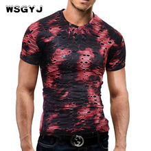 WSGYJ Male 2017 Brand Short Sleeve Individuality Tie Dyed Holes T Shirt V-Neck Beggar Slim Men T-Shirt Tops Fashion Mens Hip Hop