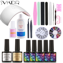 SVKDR Nail Art Base Tool 24W Sun LED Lamp 5 Color Soak Off Gel Polish Base Top Coat Gel Nail Polish Kit Manicure Sets & Kits(China)