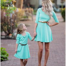 Sunny eva solid mother and girl dress Kits mother and daughter family set 2017 Couple matching clothes matching outfits princess