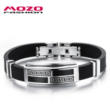 MOZO FASHION Brand Men Vintage Jewelry Silicone Bracelet Rubber Wristband Stainless Steel Great Wall Trendy Bracelets  MPH930