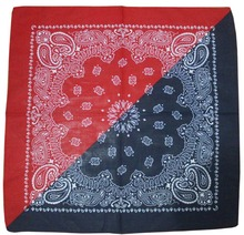 Free Shipping 2017 New Half Reversible Navy And Red Color Paisley Bandanas Headwear For Mens(China)