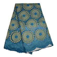 2017 Special offer Moon blue Cotton lace High quality African Mesh lace Net lace fabric with Swiss Voile wholesale Stones fabric