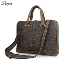"Genuine Leather Men Briefcase Bag 14"" Crocodile Stripe Real Cow Leather laptop tote business bag work messenger bag for male(China)"