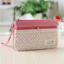 Cotton fresh floral women's cosmetic organizer handbags ladies makeup bags female Sanitary napkin package pouches for girls(China)
